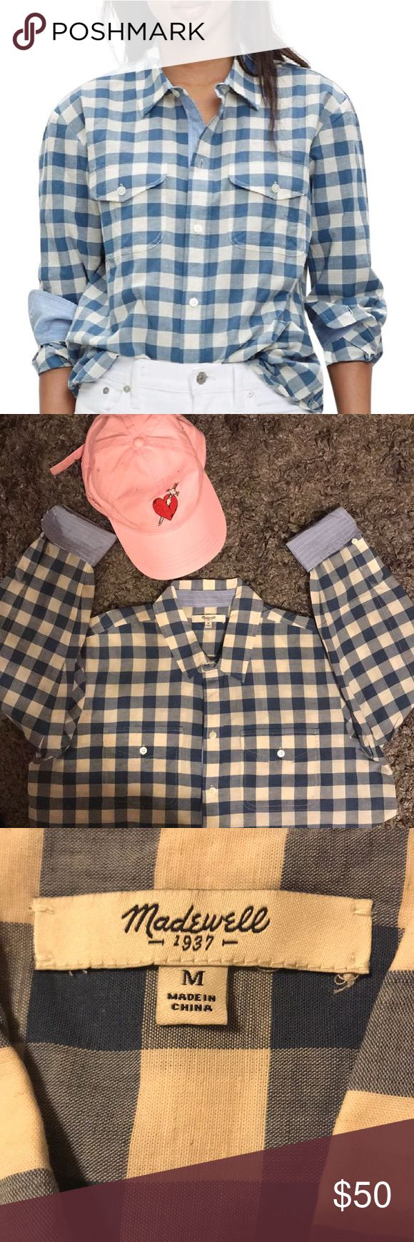 Blue Gingham Cargo Work Shirt Button-down Top Med Uber cute ‼️JUST IN TIME FOR THE QUICKLY APPROACHING SEASONS!! Cargo shirt in lightweight gingham check, with overlapping shirttails in front for an easy undone look. True to size. Cotton/linen. GREAT CONDITION Madewell Tops Button Down Shirts