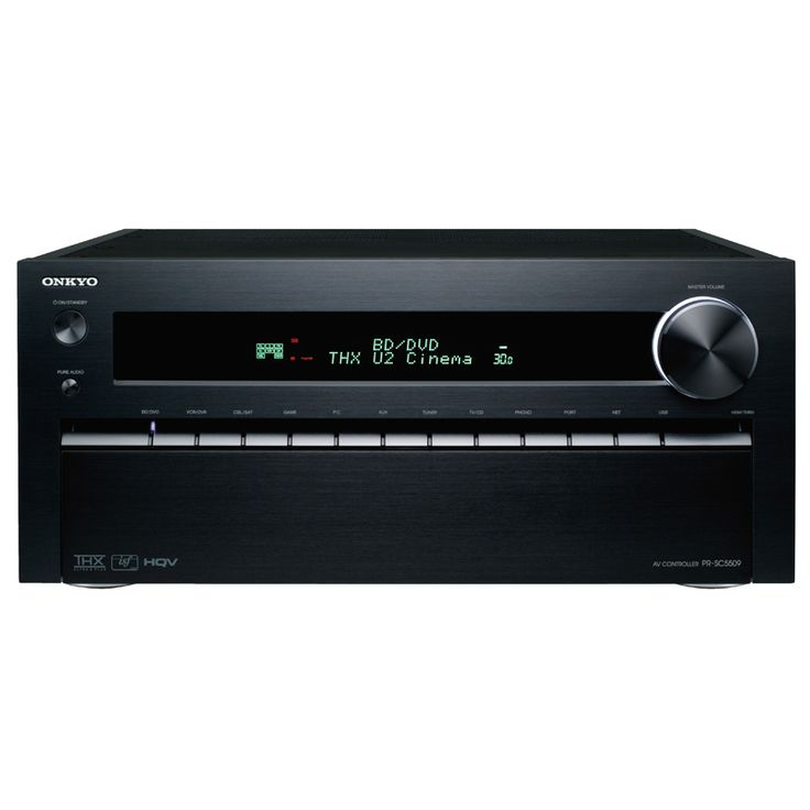 ONKYO PR-SC5509 9.2-CHANNEL NETWORK A/V CONTROLLER  Onkyo's New Flagship Pre-Amp Handles It All Boasting the premium quality assurance of THX® Ultra2 Plus™, the PR-SC5509 is the ultimate conduit for all your music, games, and movies.  Whether from a Blu-ray or SACD player, from your PC or the web, from a game console or an iPhone, your entertainment is brought stunningly to life.