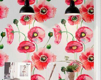Acuarela flores amapola impresión temporal papel pintado, papel pintado de vinilo, pared removible calcomanías, papel pintado Floral, decoración hogar, 151