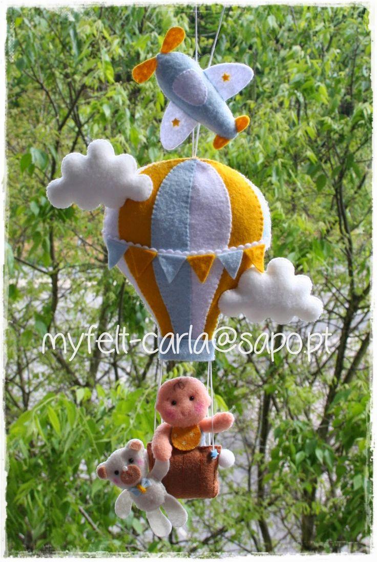 Balão de ar quente - mobile em feltro!