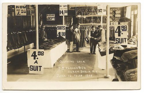 """South New Berlin NY Parker Clothing Store """"Sale"""" RPPC Real Photo Postcard 
