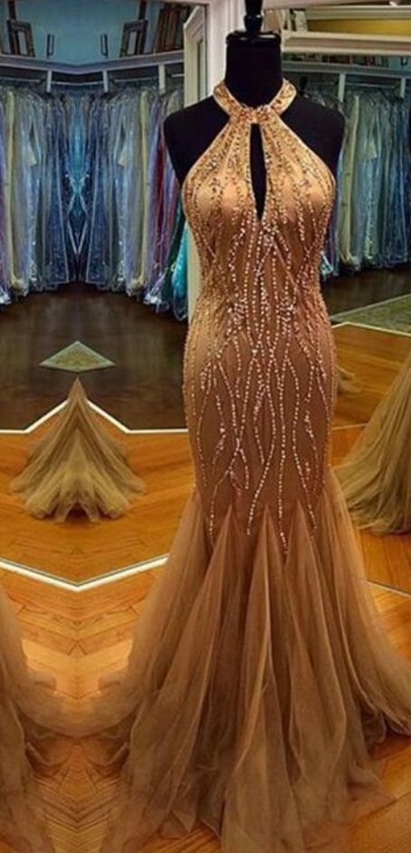 Charming Prom Dress,Halter Prom Dress,Beading Prom Dress,Tulle Prom