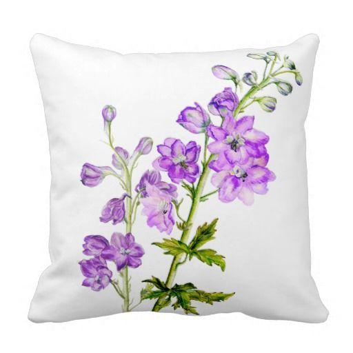 Delphinium purple fine art floral square pillow. Watercolor art by www.sarahtrett.com
