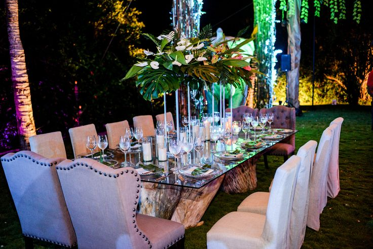 Tropical and modern #receptionsetup in the Secret Garden here at Dreams Tulum Resort & Spa! #DreamsTulum #SecretGardenWedding #TropicalReception #DestinationWedding #DreamsTulumWedding #TulumWedding