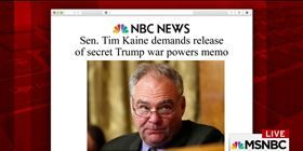 Democratic Sen. Tim Kaine is demanding the release of a secret memo outlining President Trump's interpretation of his legal authority to wage war. Reporter Heidi Przybyla joins Morning Joe to discuss.