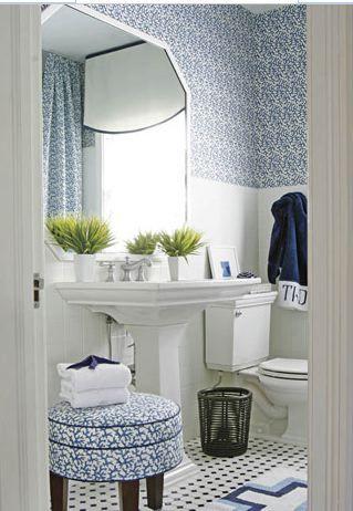 classic blue and white bathroom...fabulous monogrammed towels: Bathroom Design, Floors, Blue White Bathroom, Decoration Idea, Bathroom Idea, Blue Bathroom, Powder Rooms, Design Bathroom, Blue And White