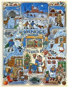 The most typical Czech Christmas and winter themes painted by the Czech painter Josef Lada 1887-1957