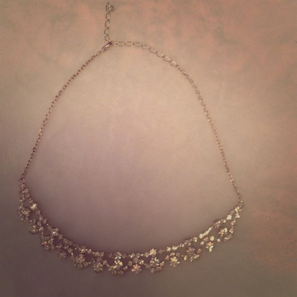 Silver and faux diamond statement necklace Adjustable clasp Jewelry Necklaces