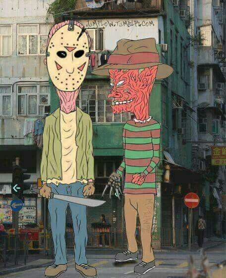 I love these guys...beavis and butthead (Jason=butthead, freddy=beavis....for those who don't know)