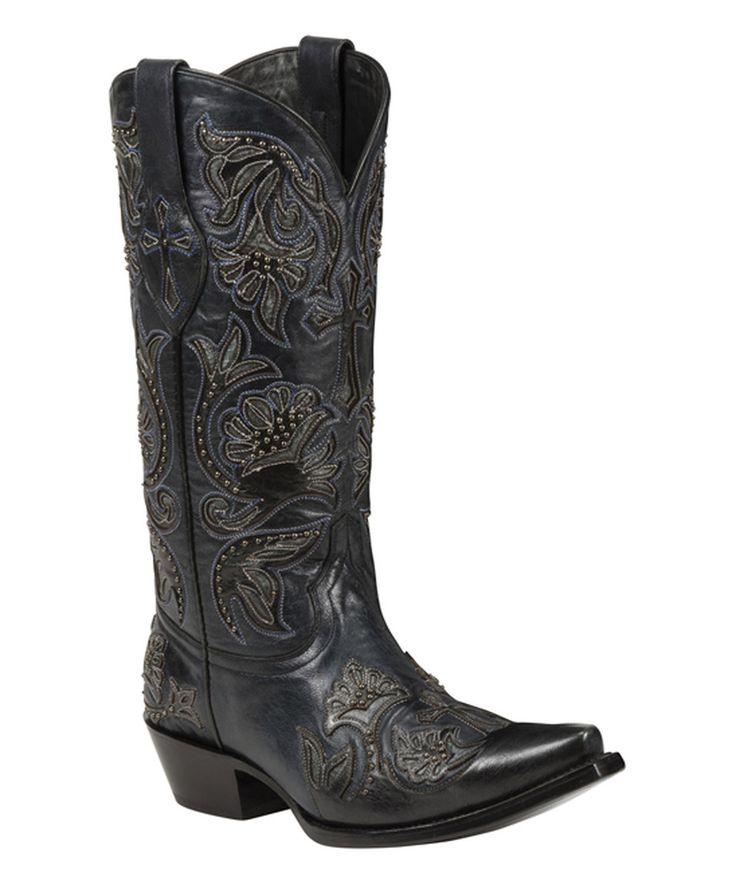Black Star Black Trinity Snip Toe Leather Cowboy Boot by Black Star #zulily #zulilyfinds