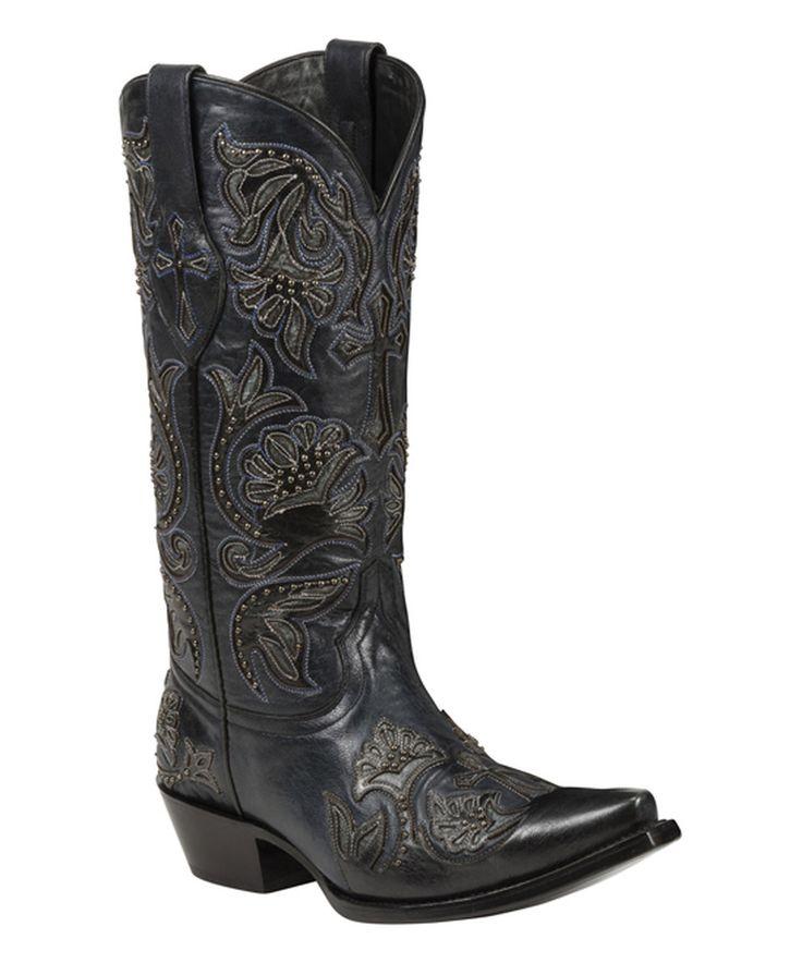 Black Star Black Trinity Snip Toe Leather Cowboy Boot by Black Star #zulily #zulilyfinds