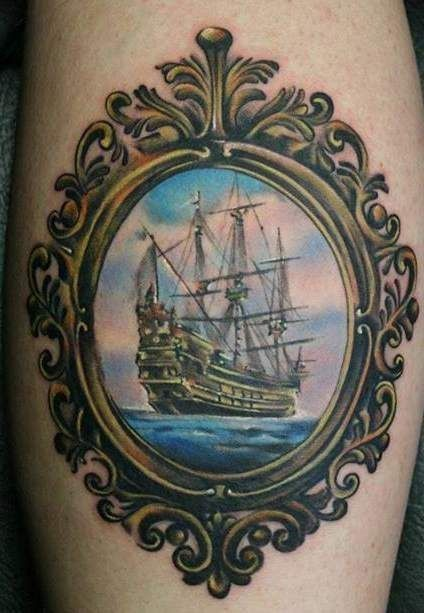Cute ship in frame tattoo