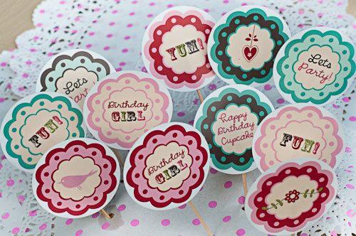 DIY Printable birthday cupcake toppers Vintage Tea Party Cake decorations.  via Etsy.: Birthday Parties, Girl Birthday Cupcakes, Cupcakes Toppers, Cakes Cases, Cakes Decor, Parties Cakes, Aymaan Birthday, Decorating Cakes Ideas, Cupcake Toppers