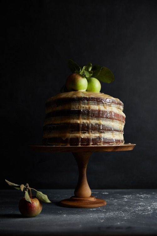 An Apple a Week: Spiced Apple Layer Cake with Goat Cheese Frosting and Caramel There's...