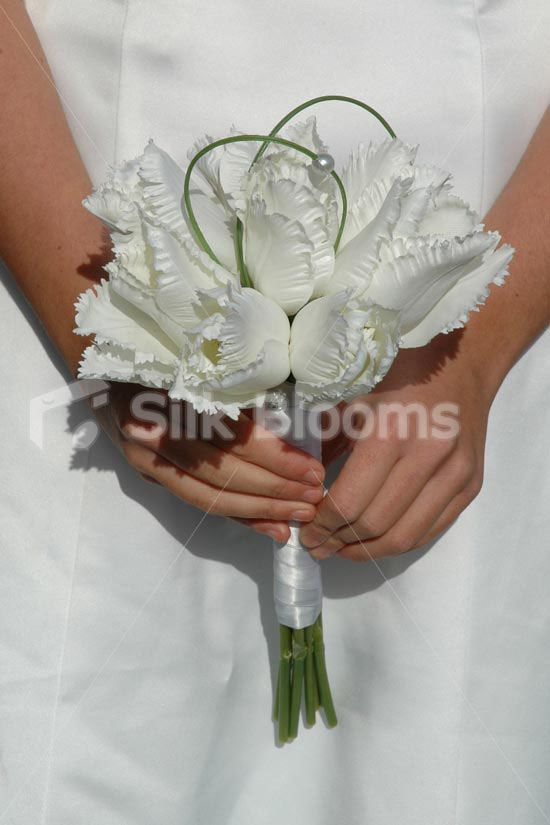 Angelic, Luxury White Parrot Tulip Bridesmaid Wedding Bouquet - Silk Flowers #artificialflowers #wedding #weddingflowers #bouquet #flowers #bridalbouquet #silkflowers #tulips #frillytulips #parrottulip