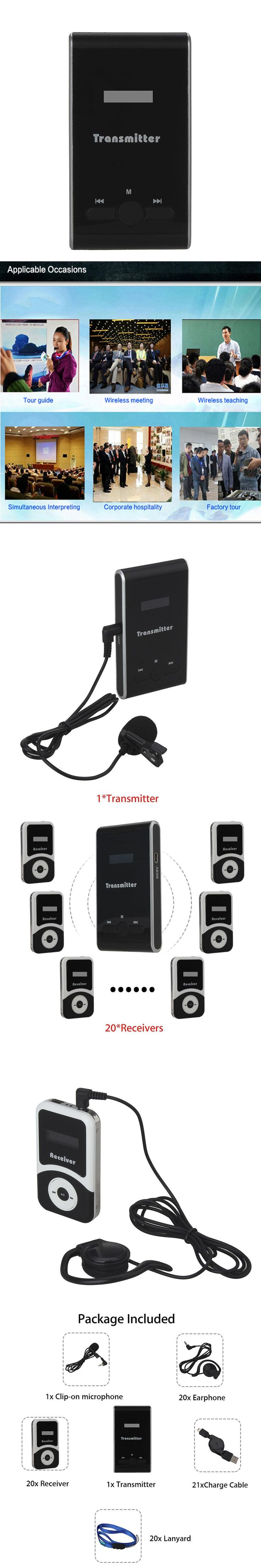 DHL Shipping! ATG100 1 TX to 20 RX Wireless Microphone Speaker Kit Transmitter Receiver Wireless TRS Tour Guide System Teaching