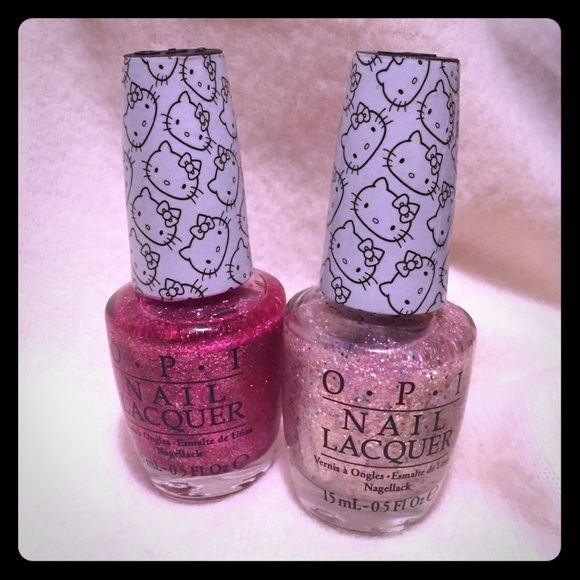 NEW OPI nail polish  Hello Kitty NEW  OPI Hello Kitty glitter polish. One is a pink glitter and the other a white with pink glitter. Sold together Other