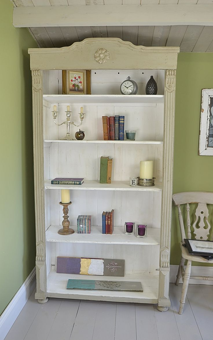 This beautiful antique bookcase has been painted in Farrow & Ball Light Grey and White. We love the rustic detail and the storage space it provides