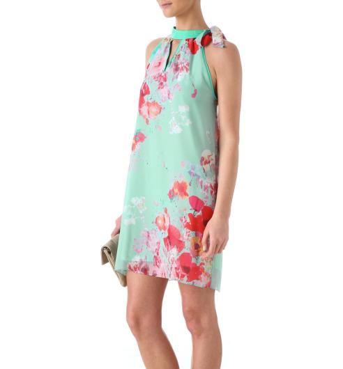Robe voile col collier Femme imprimé vert d eau - Promod