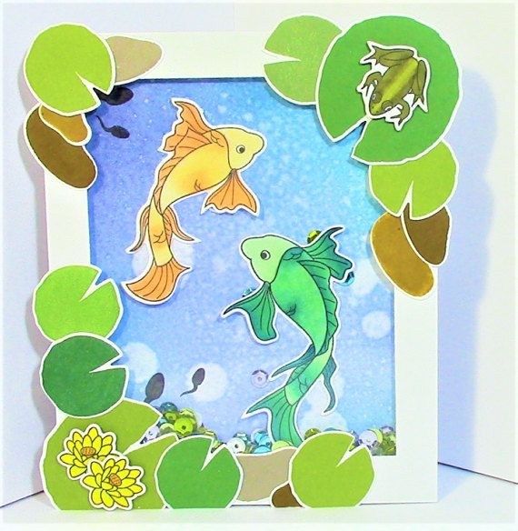 shaker card made using the Koi Pond stamp set by Menagerie Stamps