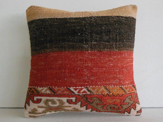 "16""sham kilim pillow case embroidered throw cushion cover southwestern turkish pillowcase ethnic pillow boho pillow cover red black striped"