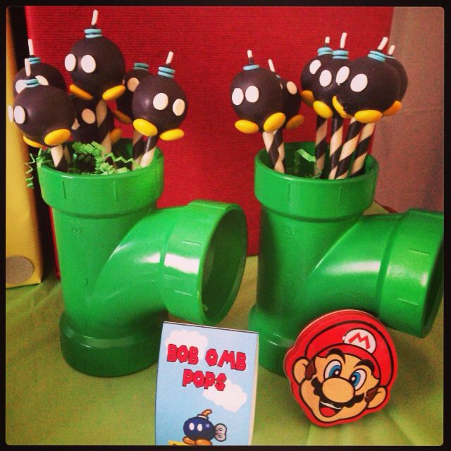 Bob-omb cake pops - Super Mario party.
