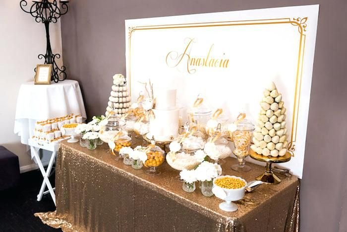 Gold And White 50th Birthday Party Decorations Decor Home Elegant