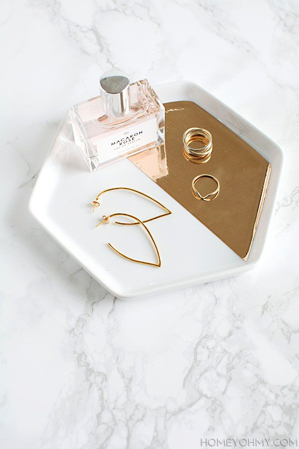 Mirrored Gold Hexagon Tray