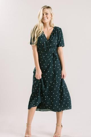 046c7e653ebc4 Lynette Hunter Green Polka Dot Wrap Dress | Polka Dot Style in 2019 ...