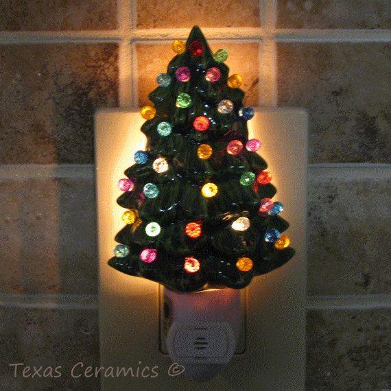 Little Green Ceramic Christmas Tree Night Light Color Globes On
