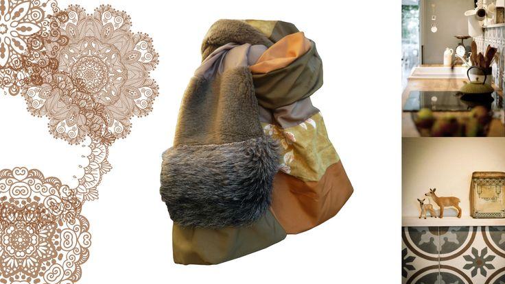 Echarpe Foulard Etole accessoire de mode pour femme fourrure polaire marron moutarde fleurs boutique lefil : Echarpe, foulard, cravate par lefil