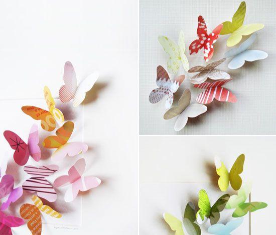 Papillons en papier à partit de pages de magazines, facile et du plus bel effet
