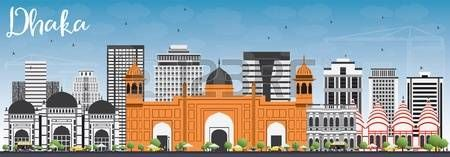 dhaka skyline: Dhaka Skyline with Gray Buildings and Blue Sky. Vector Illustration. Business Travel and Tourism Concept with Historic Buildings. Image for Presentation Banner Placard and Web Site. Illustration