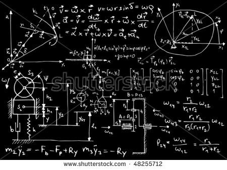 Blackboard with mechanical sketches and formulas - vector illustration
