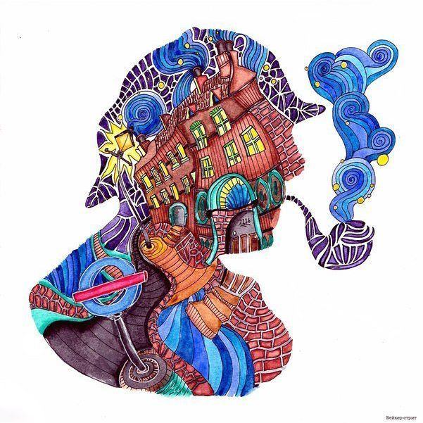 The magical city. Baker Street/ Магия городов. Бейкер-стрит #магиягородов #bakerstreet #бейкерстрит #themagicalcity #раскрассскаантистресс #раскраска #coloringbookforadults #coloring #artbook #sherlok #шерлок #lizziemarycullen