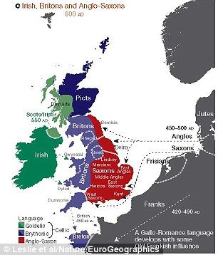 The map above shows the regions of ancient British, Irish and Saxon control which relate to many of the modern genetic clusters