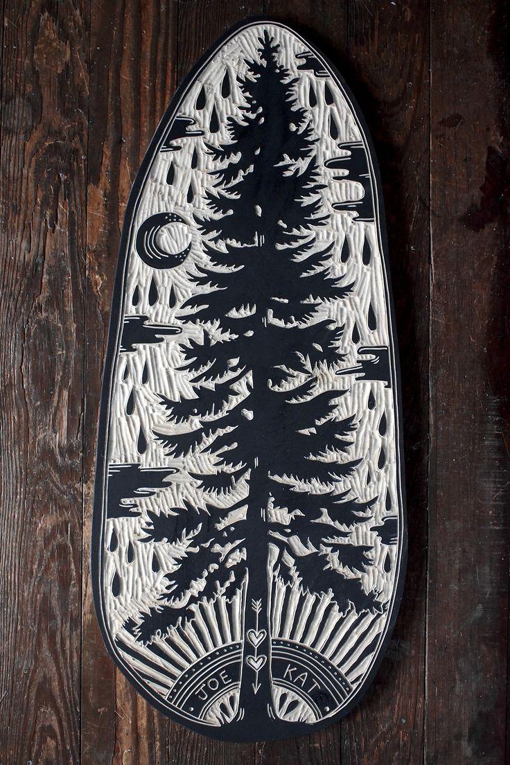 Douglas Fir Woodcut by Bryn Perrott  I MUST make something vaguely similar for Jason & I <3