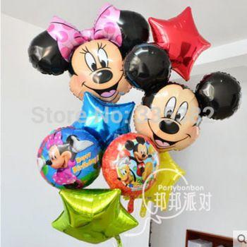 Новый алюминиевый гелиевые шары на день рождения ну вечеринку детские сто дней микки минни маус микки маус глава фольгированные шары оптовая продажа