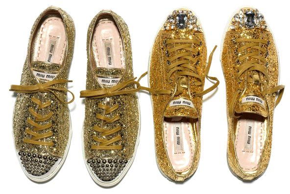 gold dust woman: sparkle sneakers : Shoes, Miumiu, Fashion, Style, Miu Sneakers, Sparkle, Miu Miu