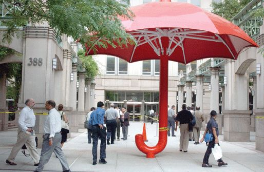 Giant umbrella near the Citigroup building in Tribeca, NYC. We deliver advertising campaigns throughout the UK and Europe, but we also welcome enquiries from around the globe too! For all of your advertising needs at unbeatable rates - www.adsdirect.org.uk