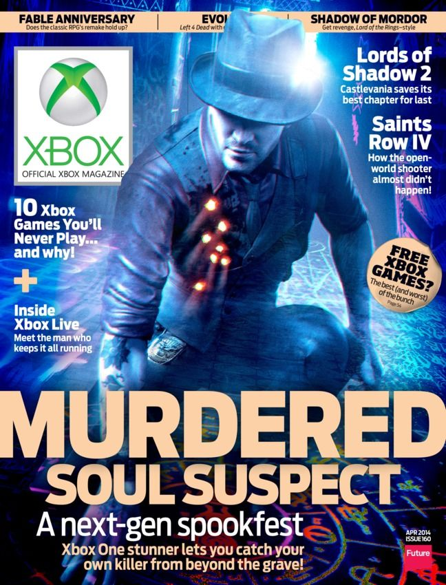 Official Xbox Magazine - April 2014 : The latest issue of Official Xbox Magazine (OXM) is here, and we put the spotlight on the highly unique next-gen thriller Murdered: Soul Suspect — a game where you solve the mystery behind your own death! We chat with the studio behind the upcoming adventure and explore some of the strange twists and turns in the game. But that's not all there is in this new issue! • FEATURES: We sit down with dev...   More