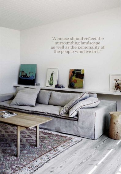 the sofa, the rug, the text