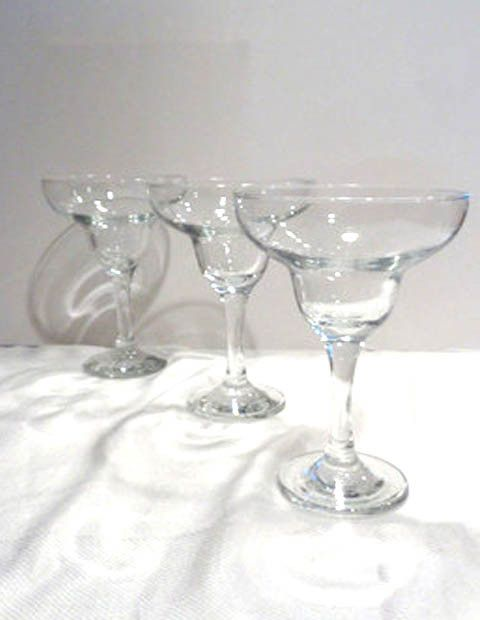 """Set of 3 Margarita Glasses. Excellent Condition. 12 oz Capacity 6 3/4"""" H x 4 1/2"""" Rim Prepaid Shipping within Continental U.S."""