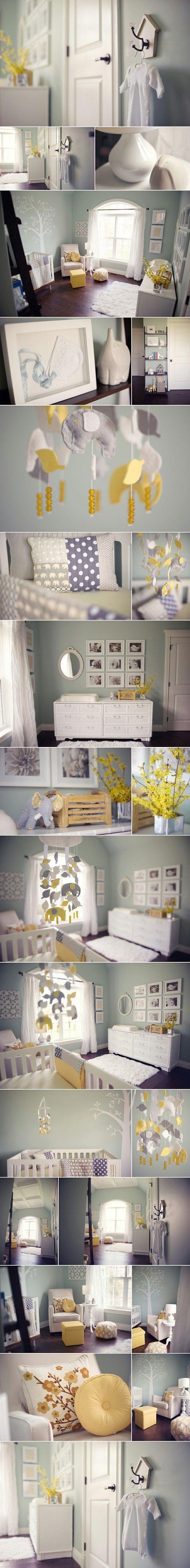 Chambre de bébé dans des tons très tendance. En jaune et gris. - Nursery in shades trendy. Yellow and gray.