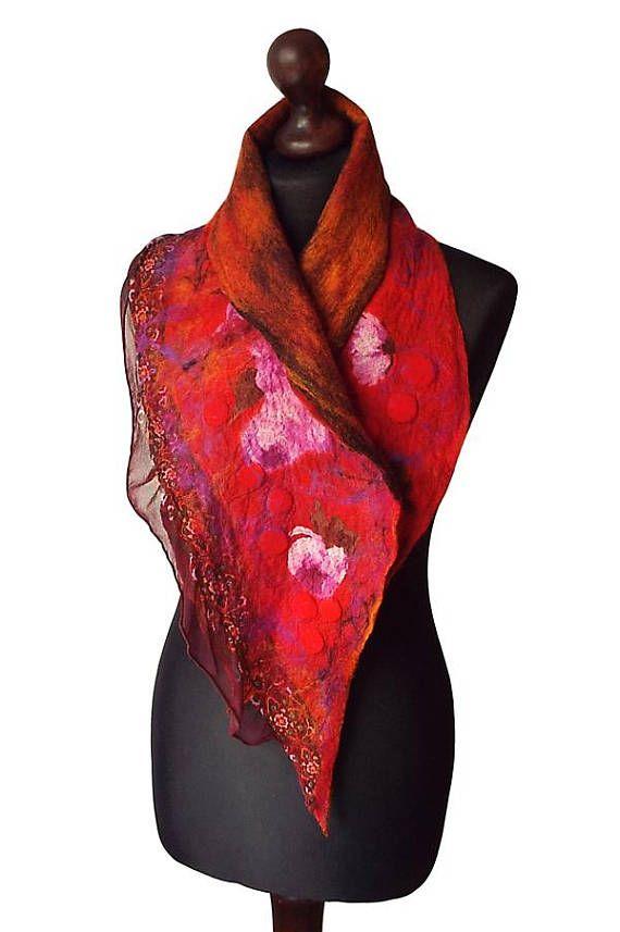 Nuno Felted Collar Nuno Felted Scarf Felted Silk scarf Neck