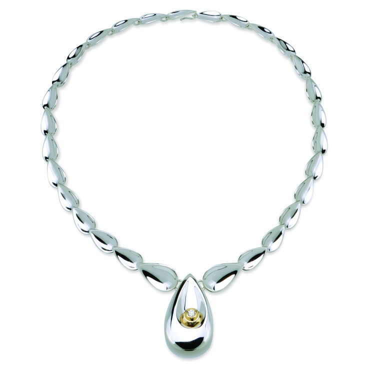 Sterling silver necklace with diamond - Droplet collection
