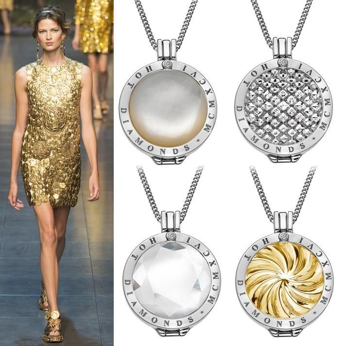 With Dolce and Gabbana showcasing a coin dress, it was clear that coins were going to make their way into the trend spotlight once more. At Hot Diamonds our (top left to right) White Mother of Pearl, Silver Sparkle, Ice and Golden Windmill Emozioni coins add that bit of sparkle to any outfit.  (Runway photography by www.catwalking.com)