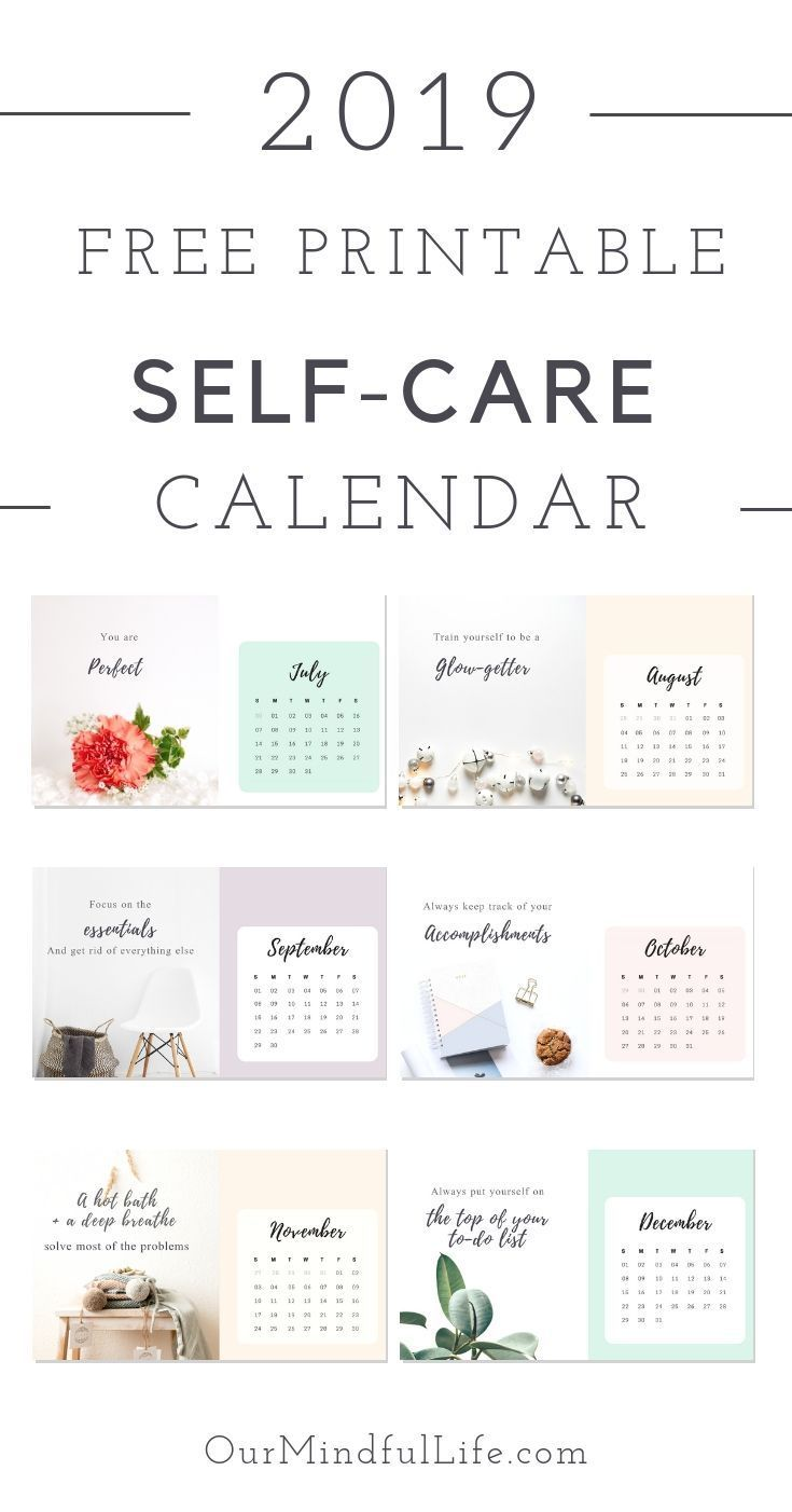 Free Printable Self Care Reminder Calendar For 2019 Self Care