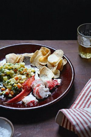 Russian-style corn salad with lobster and homemade chips from Spanish Flavors by Jose Pizarro