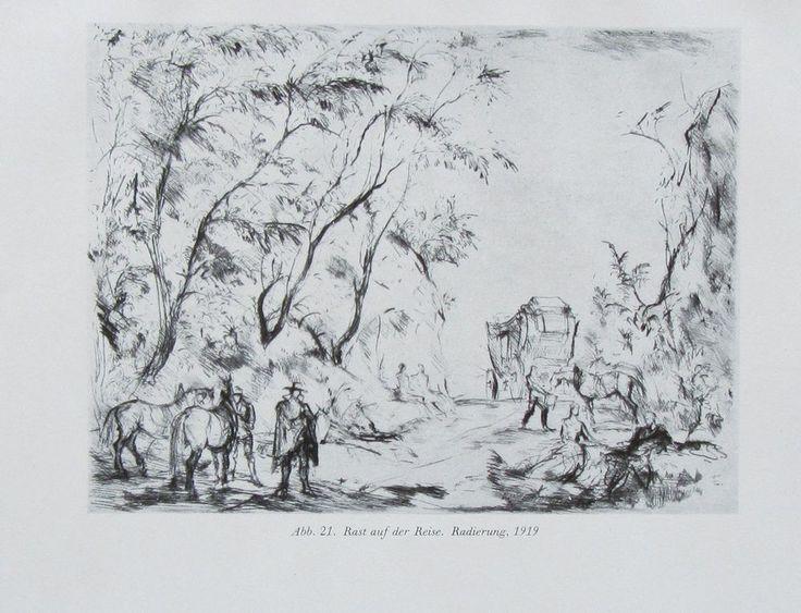 1943 RAST AUF DER REISE Hans Meid alter Druck antique print deutsche Kunst